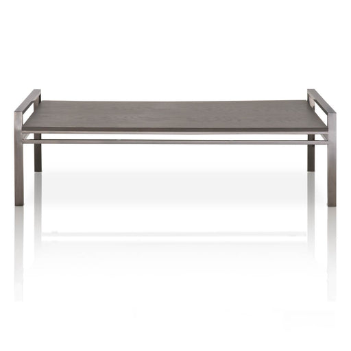 "Benson Coffee Table in Black Wash Oak, Black Stainless Steel Contemporary style coffee table featuring a rectangle Black Wash Oak top over a Black Stainless Steel base. Featuring Sleek Modern Style with a Transitional Feel,  W:59"" D:29.5"" H:18"" Vintage Collection"
