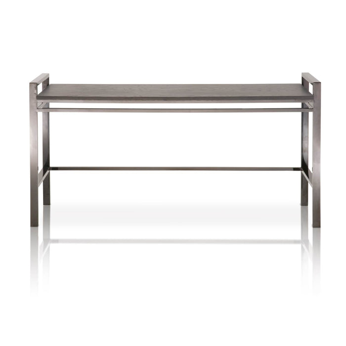 "Benson Sofa Table in Black Wash Oak, Black Stainless Steel Contemporary style sofa table featuring a rectangle Black Wash Oak top over a Black Stainless Steel base. Featuring Sleek Modern Style with a Transitional Feel,  W:59"" D:20"" H:30"" Vintage Collection"