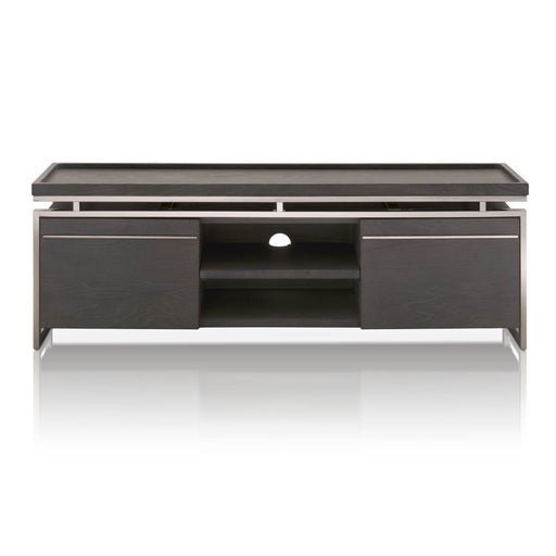 "Benson TV Unit in Black Wash Oak, Black Stainless Steel Contemporary style TV unit featuring interior and exterior storage. Featuring Sleek Modern Style with a Transitional Feel, Cord Manager Ready W:63"" D:18"" H:22"" Vintage Collection"