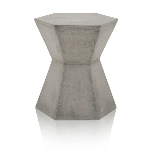 "Bento Accent Table in Slate Grey Concrete Contemporary style end table featuring Hexagon hour glass shape and Slate Grey Concrete finish. Featuring Hexagon Hour Glass Shape Lends a fun Twist on a Simple Concrete Accent Piece, Suitable for Indoor and Outdoor Use W:17.5"" D:15"" H:19"" District Collection"