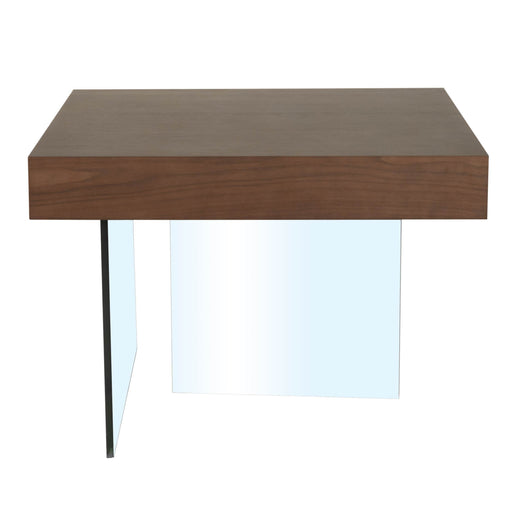 "Blain End Table in Dark Walnut, 12MM Tempered Glass Contemporary style end table featuring square Dark Walnut top and Clear Glass base. Featuring ,  W:27.5"" D:27.5"" H:19.80"" Cleo Collection"