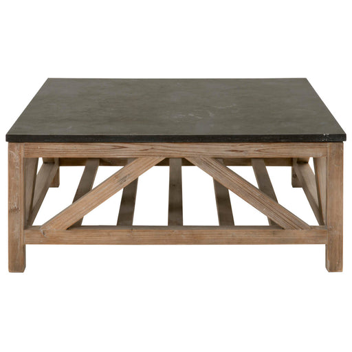 "Blue Stone Square Coffee Table in Smoke Gray Pine, Blue Stone Transitional style square coffee table featuring Blue Stone top and Smoke Gray Pine base. Featuring Reclaimed Pine Wood Trestle Base, Natural Blue Stone Slab Top W:42"" D:42"" H:17.75"" Bella Antique Collection"