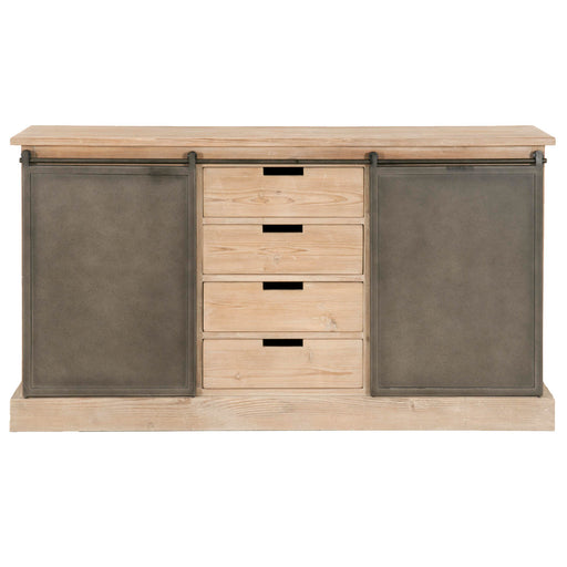 "Bowery Media Sideboard in Smoke Gray Pine, Gray Steel | Solid Reclaimed Pine, Veneer Top  Featuring Reclaimed Pine Wood, 4 Storage Drawers W:63"" D:16.5"" H:34.60"" Bella Antique Collection"