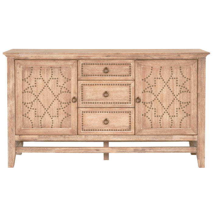 "Braxton Media Sideboard in Stone Wash | Acacia Veneer, Bronze Nails Transitional style Sideboard Featuring Stone Wash Finish with Bronze Nails Featuring Elaborate Nail Head Design, Felt Lined Top Drawer W:65"" D:20"" H:37"" Traditions Collection"