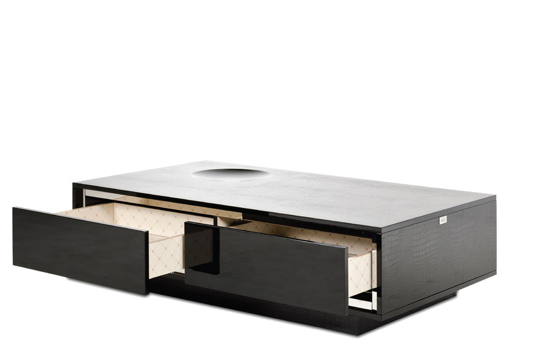 A&X Grand - Modern Black Crocodile Lacquer Coffee Table with Drawers