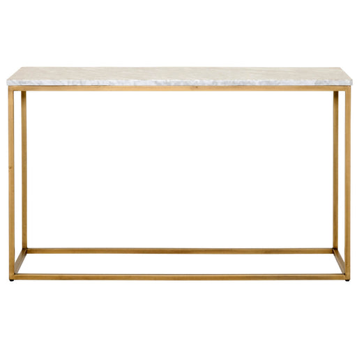 "Carrera Console Table in White Carrera Marble, Brushed Gold Transitional style console table featuring Brushed Gold base and White Marble top. Featuring Marble Veneer Top, Rectangle Steel Base W:50"" D:17"" H:29.5"" Traditions Collection"
