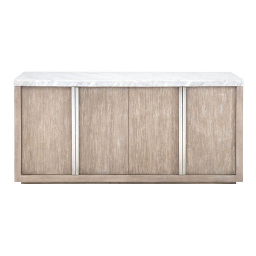 "Chasm Buffet in White Carrera Marble, Natural Grey, Brushed Stainless Steel | MDF, Marble Veneer, Acacia Veneer Contemporary style sideboard featuring two storage cabinets with wine racks. Featuring Carrera Marble Veneer over MDF, Has the Look and Feel of Solid Carrera with Greater Durability W:70"" D:19"" H:34"" Elements Collection"