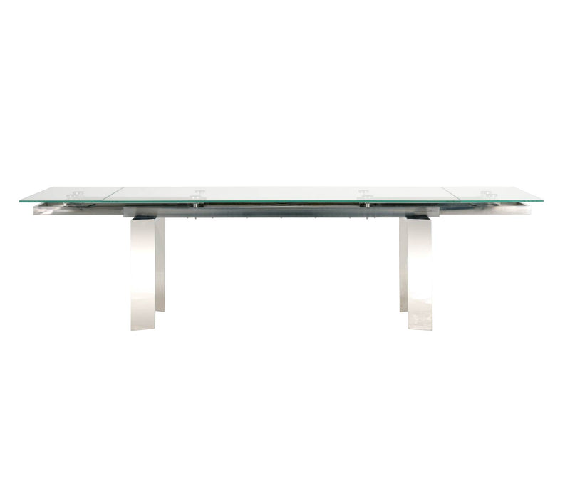 "Chrono Extension Dining Table in Stainless Steel, Clear Glass Contemporary extension dining table featuring interlocking gear display underneath a clear glass top. Featuring Easy Automatic Mechanism to Extend Leaves, Clean Stainless Look W:79-114"" D:39.5"" H:30"" Ritz Collection"