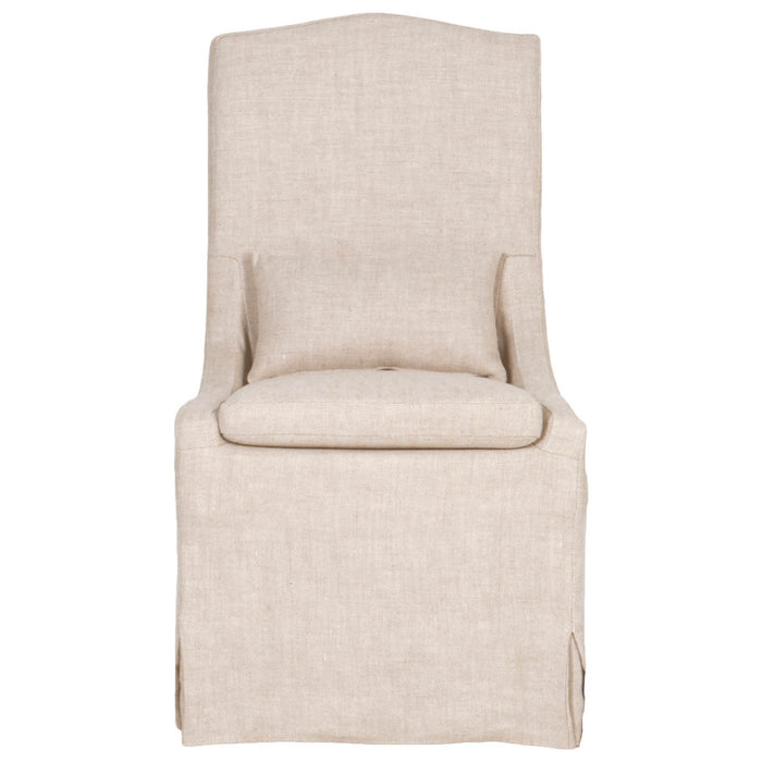 Colette Dining Chair (Set Of 2) In Bisque French Linen Transitional Style  Dining Chair