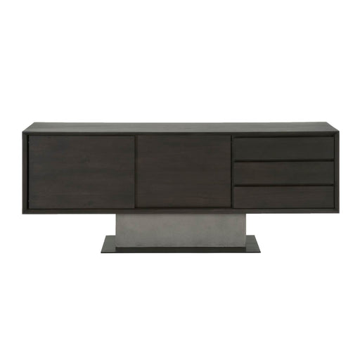 "Cuba Buffet in Espresso, Slate Grey Concrete, Matte Black Metal | Acacia Veneer Contemporary style buffet featuring three storage drawers and cabinet with sliding doors. Featuring Sliding Doors & Drawers, Tip Kit Included W:79"" D:18"" H:31"" District Collection"