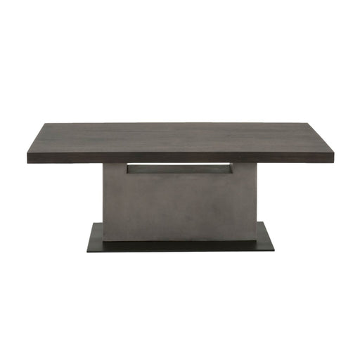 "Cuba Coffee Table in Espresso, Slate Grey Concrete, Matte Black Metal | Acacia Veneer Contemporary style coffee table featuring rectangle Espresso top over a Slate Grey concrete base. Featuring Single Pedestal Base, Rectangle Top W:51"" D:27.5"" H:18"" District Collection"