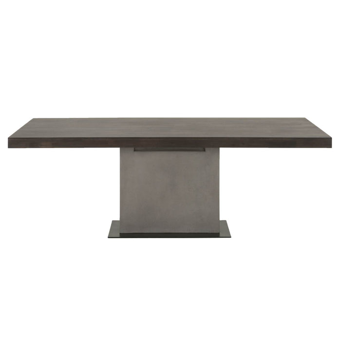 "Cuba Dining Table in Espresso, Slate Grey Concrete, Matte Black Metal | Acacia Veneer Contemporary style dining table featuring rectangle Espresso top over a Slate Grey concrete base. Featuring Mixed Materials give it a Modern Look with a Transitional Feel, Single Pedestal Base W:82.5"" D:39.5"" H:30"" District Collection"