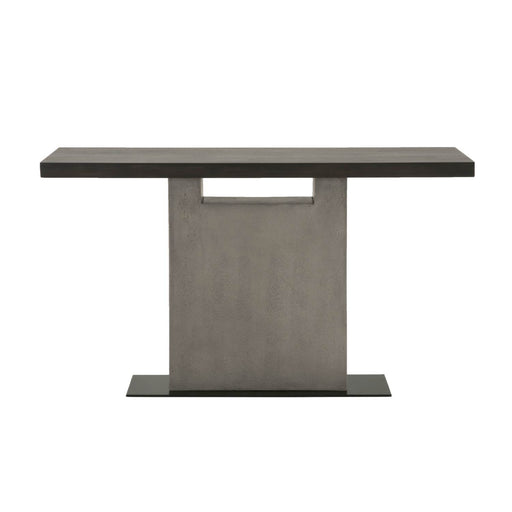 "Cuba Sofa Table in Espresso, Slate Grey Concrete, Matte Black Metal | Acacia Veneer Contemporary style sofa table featuring rectangle Espresso top over a Slate Grey concrete base. Featuring Single Pedestal Base, Rectangle Top W:55"" D:16"" H:31.5"" District Collection"
