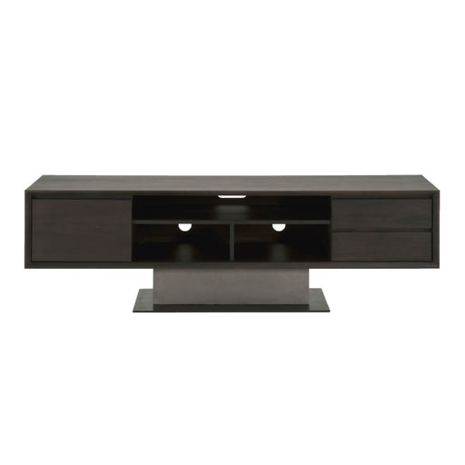 "Cuba TV Unit in Espresso, Slate Grey Concrete, Matte Black Metal | Acacia Veneer Contemporary style TV unit featuring interior and exterior storage. Featuring Tip Kit Included, Mixed Materials Give it a Modern Look with a Transitional Feel W:71"" D:18"" H:21.5"" District Collection"