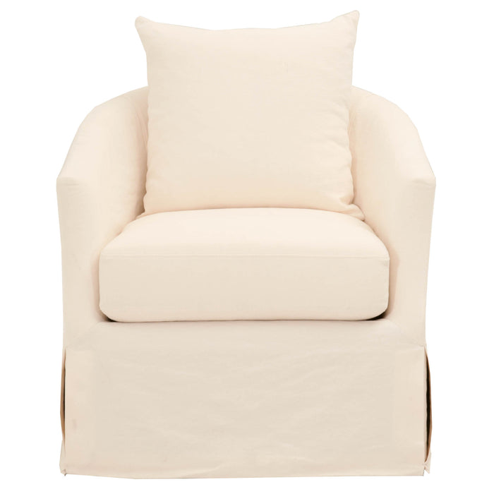 "Faye Slipcover Swivel Club Chair in Cream Crepe Fabric | 40/60 Linen/Cotton  Featuring Reversible Seat Cushion with Tie-Down to Prevent Movement, Sinuous Spring Construction with 3.8"" Coil W:32.5"" D:37"" H:32.75"" Stitch & Hand Collection"