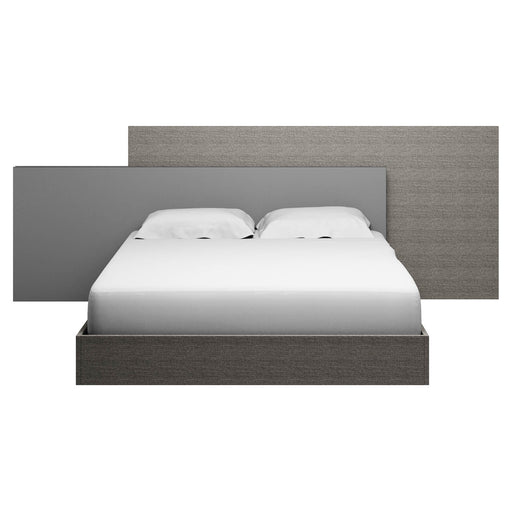 "Forte Queen Bed in Matte Grey Oak Eco Veneer, Grey Trim Contemporary Queen bed featuring Matte Grey finish. Featuring 100% Made In Italy, Ships Ready For Box Spring/Latex Mattress Configuration W:119"" D:85"" H:42.5"" Vivente Collection"