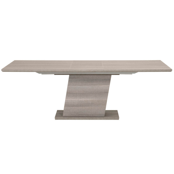 "Forte Extension Dining Table in Matte Grey Oak Eco Veneer Contemporary dining table featuring Matte Grey Oak finish and 17"" extension leaf. Featuring 100% Made In Italy, Coordinating Buffet and Chair Available W:71-88.5"" D:40"" H:30"" Vivente Collection"