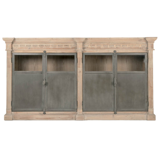 "Grecian Media Sideboard in Smoke Gray Pine, Gray Steel | Solid Reclaimed Pine, Veneer Top Transitional style sideboard featuring recycled South Pine wood and Gray Steel doors. Featuring Reclaimed Pine Wood, Steel Doors & Hardware W:80"" D:19.75"" H:43.5"" Bella Antique Collection"