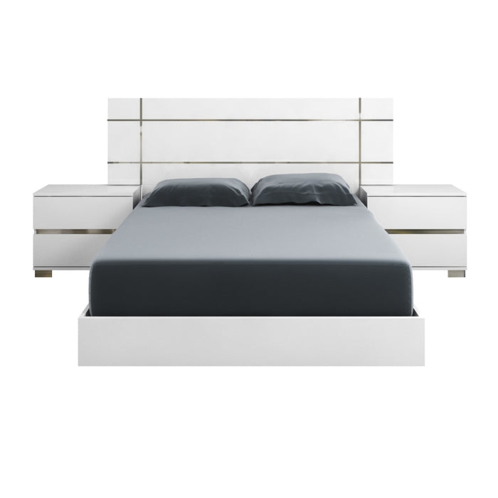 "Icon Queen Bed in White High Gloss, Chrome Foil Trim | Acrylic Lacquer Contemporary Queen bed featuring White High Gloss finish with Chrome trim. Featuring 100% Made In Italy, Ships Ready For Box Spring/Latex Mattress Configuration W:82.68"" D:85.04"" H:48.43"" Vivente Collection"