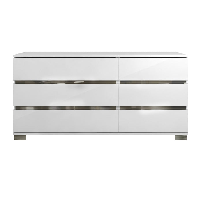 "Icon Double Dresser in White High Gloss, Chrome Foil Trim | Acrylic Lacquer Contemporary double dresser featuring six storage drawers and White High Gloss finish. Featuring 6 Drawer Unit, 100% Made In Italy W:68.5"" D:19"" H:33"" Vivente Collection"