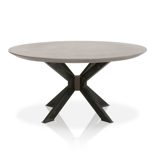 "Industry Round Dining Table in Ash Grey Concrete, Distressed Black Iron Contemporary style dining table featuring round Ash Grey Concrete top over a Distressed Black Iron base. Featuring Mixed Materials Give it A Modern Look with A Transitional Feel, Distressed Black Iron Legs Give The Table An Industrial Feel W:60"" D:60"" H:30"" District Collection"
