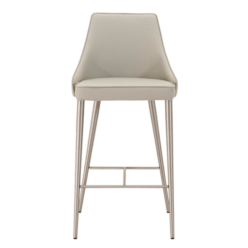 "Ivy Counter Stool in Light Grey Synthetic, Brushed Stainless Steel Contemporary style counter stool featuring Light Grey synthetic leather upholstery and brushed Stainless Steel finish. Featuring Brushed Stainless Steel Legs, Modern Look with Great Comfort W:17"" D:20.5"" H:37"" Meridian Collection"