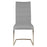 "Lido Dining Chair (Set of 2) in Ash Grey Fabric, White Stitching, Chrome | 100% Polyester Contemporary style dining chair featuring top handle and unique stitching along sides of seat and back. Featuring Unique Stitching Accent On The Sides of The Back, Great Comfort W:18"" D:24"" H:38.5"" Regis Collection"