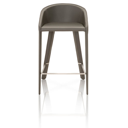 "Logan Counter Stool in Shadow Bonded Leather, Shadow Edge Contemporary style counter stool featuring Shadow Leather upholstery with footstool. Featuring Made with Elegant, Hard Bonded Leather, Great Design Lines and Comfort W:18.5"" D:19.75"" H:33"" Meridian Collection"