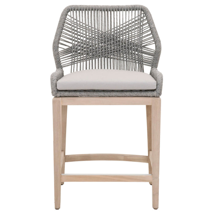 "Loom Outdoor Counter Stool in Platinum Rope, Smoke Gray Fabric, Gray Teak | 100% Olefin, Aluminum Transitional style counter stool featuring removable all-weather fabric seat and intricate rope weave design. Featuring Removable Upholstered Seat In All-Weathered Fabric, Intricate Rope Weave Design W:23.5"" D:22"" H:40.5"" Wicker Collection"