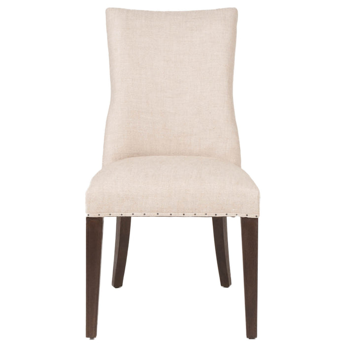 Lourdes Dining Chair (Set Of 2) In Bisque French Linen, Rustic Java Oak