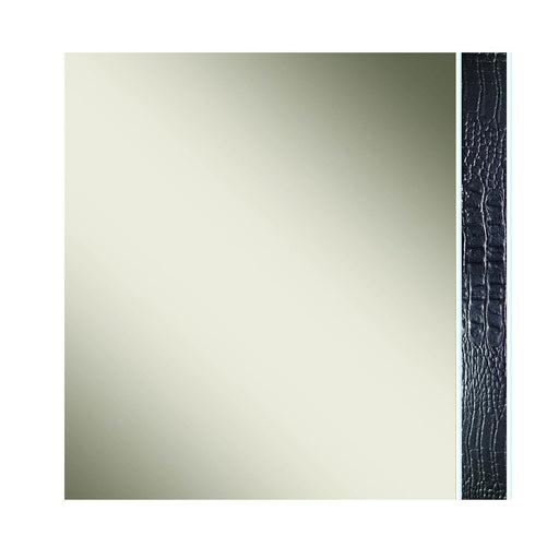 "Lustro Mirror in Black High Gloss, Silver Black Artifical Croc Trim | Acrylic Lacquer Contemporary bedroom mirror featuring frameless design. Featuring Frameless Dresser Mirror, 100% Made In Italy W:51"" D:1"" H:40"" Vivente Collection"