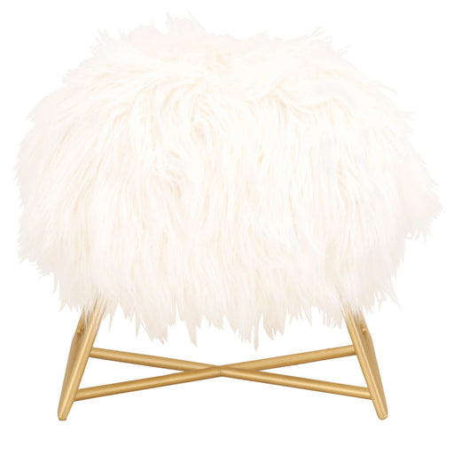 "Margo Ottoman in White Fur, Brushed Gold Transitional style ottoman featuring Brushed Gold finish and White Fur seat cushion. Featuring Versatile For Many Applications,  W:18"" D:14"" H:18"" Bella Antique Collection"