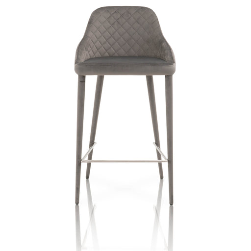 "Marquee Counter Stool (Set of 2) in Gavel Grey Velvet | 100% Polyester, Metal Footrest Contemporary style dining chair featuring Gavel Gray Velvet upholstery with button-tufted seat back. Featuring Versatile Design fits in a Modern or Transitional Home, Tufted Seat Back with Diamond Stitch Pattern W:18.5"" D:19.5"" H:34.5"" Meridian Collection"