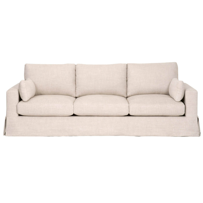 "Maxwell 99"" Sofa in Bisque French Linen 