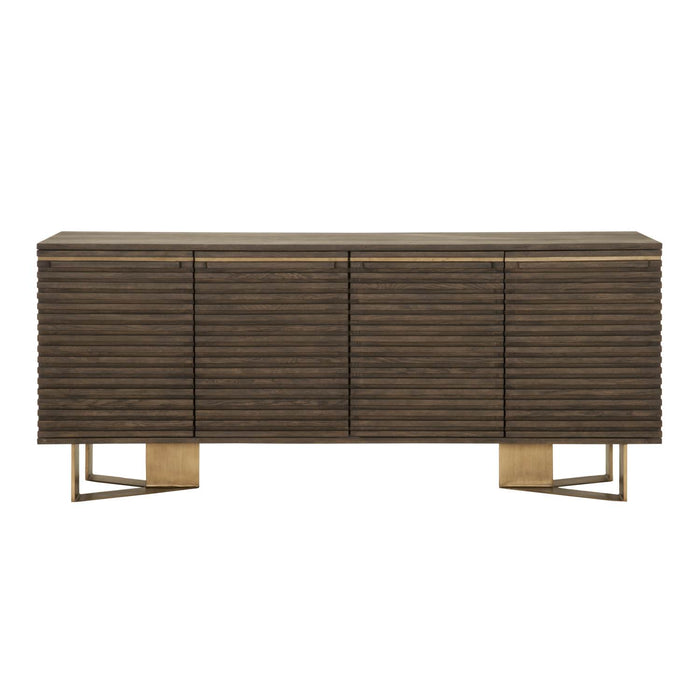 "Midtown Media Sideboard in Whiskey Oak, Brass Transitional style sideboard featuring two storage cabinets with horizontal wood striped panel doors. Featuring Horizontal Wood Striped Panel Doors, Cord Management Holes in Each Cabinet W:78.75"" D:18"" H:34"" District Collection"