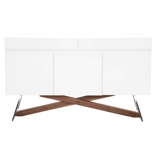 "Monica Buffet in White High Gloss, Walnut, Stainless Steel Contemporary buffet featuring two storage drawers and three cabinets with adjustable interior shelves. Featuring Two Storage Drawers, Three Cabinets with Interior Shelves W:59"" D:18"" H:35"" Ritz Collection"