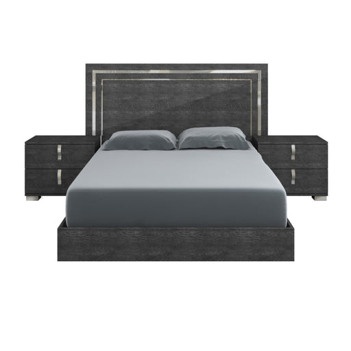 "Noble Queen Bed in Grey Birch High Gloss, Chrome Foil Trim | Acrylic Lacquer Contemporary Queen bed featuring Grey Birch finish and Chrome trim. Featuring 100% Made In Italy, Ships Ready For Box Spring/Latex Mattress Configuration W:76.38"" D:82.84"" H:52.95"" Vivente Collection"