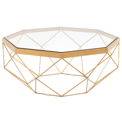 "Origami Coffee Table in Brushed Gold, Clear Glass Transitional style coffee table featuring Octagon shape frame and clear glass top. Featuring Tempered Glass Top, Stainless Steel W:35"" D:35"" H:16"" Bella Antique Collection"