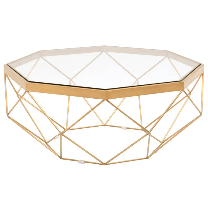 Orient Express Furniture Origami Coffee Table Brushed Gold, Clear ...