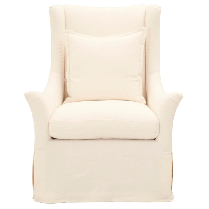 "Otto Slipcover Swivel Club Chair in Creme Crepe | 40/60 Linen/Cotton  Featuring Reversible Seat Cushion with Tie-Down to Prevent Movement, Sinuous Spring Construction with 3.8"" Coil W:34.25"" D:34.5"" H:45"" Stitch & Hand Collection"