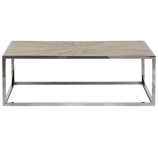 "Parquet Coffee Table in Smoke Gray Elm, Stainless Steel | <br>Reclaimed Elm Veneer Top Transitional style coffee table featuring Starburst wood top design over a Stainless Steel base. Featuring Reclaimed Elm Wood, Starburst Wood Top Design W:47"" D:27.5"" H:16"" Bella Antique Collection"