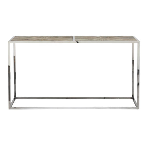 "Parquet Console Table in Smoke Gray Elm, Stainless Steel | <br>Reclaimed Elm Veneer Top Transitional style console table featuring Starburst wood top design over a Stainless Steel base. Featuring Reclaimed Elm Wood, Starburst Wood Top Design W:63"" D:19.5"" H:33.5"" Bella Antique Collection"
