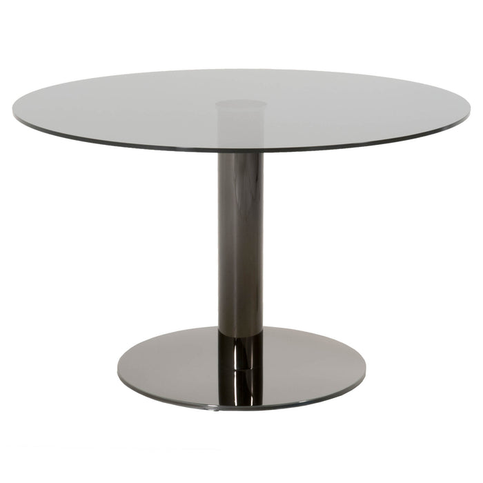 "Pillar Round Dining Table in Black Stainless Steel, Grey Glass  Featuring ,  W:48"" D:48"" H:30"" STR Sample Collection"