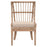 "Playa Dining Chair (Set of 2) in Stone Pole Rattan, Light Gray Fabric, Stone Wash Mahogany | 55/45 Linen/Polyester Transitional style dining chair featuring fixed upholstered seat and distressed finish. Featuring Fixed Upholstered Seat, Spoked Seat Back W:21.5"" D:24"" H:35"" Wicker Collection"