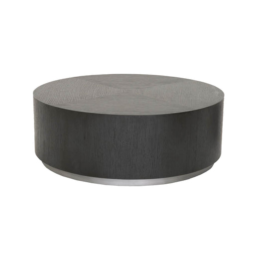 "Roto Coffee Table in Carbon Oak, Brushed Metal Base | Oak Veneer Contemporary style round coffee table featuring Carbon Oak finish and Brushed Metal base. Featuring Low Profile, Round Surface W:35.5"" D:35.5"" H:12.5"" District Collection"