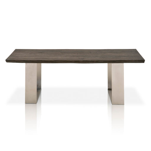 "Sodo Coffee Table in Brushed Charcoal Oak, Brushed Nickel Contemporary style coffee table featuring Solid Oak wood top and Solid Brushed Nickel base. Featuring Solid Oak Wood Top, Solid Brushed Nickel Base W:55"" D:27.5"" H:18.5"" District Collection"