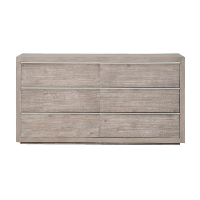 "Steele 6-Drawer Dresser in Natural Gray, Brushed Stainless Steel Transitional style double dresser featuring six storage drawers and Natural Gray finish with Brushed Stainless Steel handles. Featuring Full Extension Metal Drawer Glides, Stainless Steel Hardware W:68"" D:20"" H:36"" Traditions Collection"