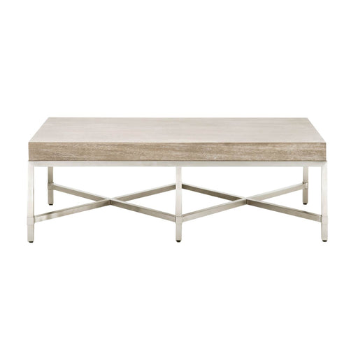 "Strand Coffee Table in Natural Gray, Brushed Stainless Steel Transitional style coffee table featuring Natural Gray rectangular top and Brushed Stainless Steel base. Featuring Stainless Steel Base,  W:50"" D:27"" H:17"" Traditions Collection"