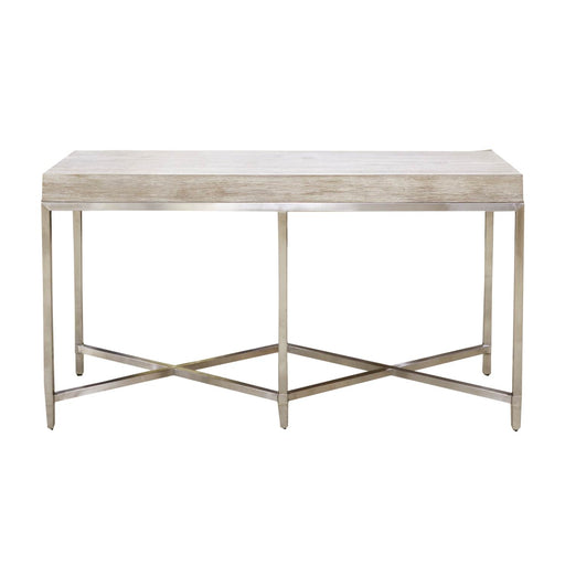 "Strand Console Table in Natural Gray, Brushed Stainless Steel Transitional style console table featuring Natural Gray rectangular top and Brushed Stainless Steel base. Featuring Stainless Steel Base,  W:54"" D:19.5"" H:30"" Traditions Collection"