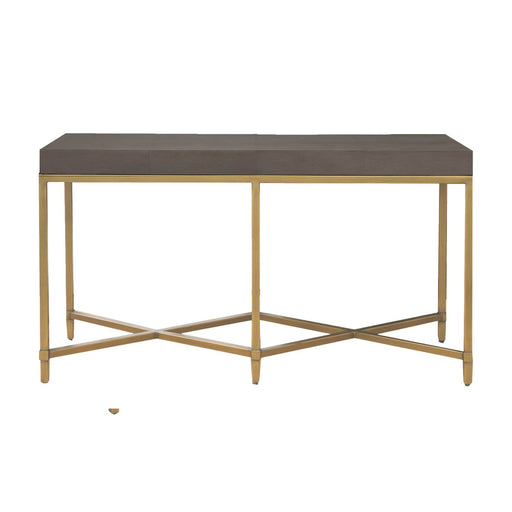 "Strand Shagreen Console Table in Gray Shagreen, Brushed Gold Transitional style console table featuring Gray Shagreen rectangle top over Brushed Gold metal base. Featuring Faux Shagreen Resin,  W:54"" D:19.5"" H:30"" Traditions Collection"